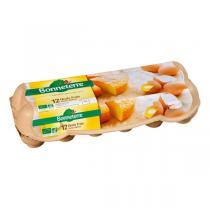 Bonneterre - Boîte de 12 oeufs frais de poules élevées en plein air