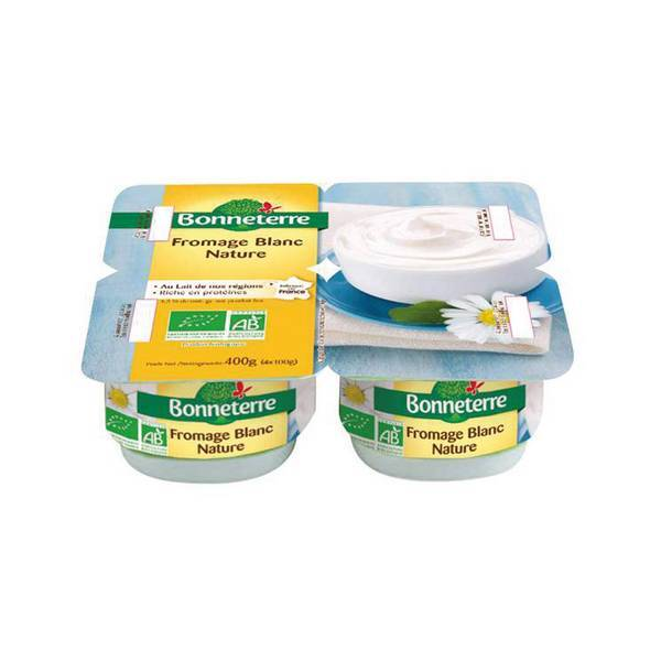 Bonneterre - Fromage blanc nature 4,3 % MG 4x100g