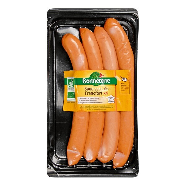 Bonneterre - Saucisses de Francfort qualité supérieure x 4 - 240 g