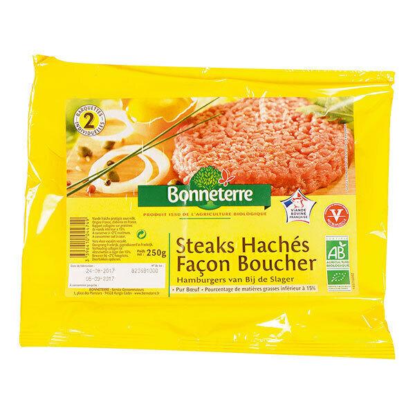 Bonneterre - Steacks hachés façon boucher 15%MG 2x125g