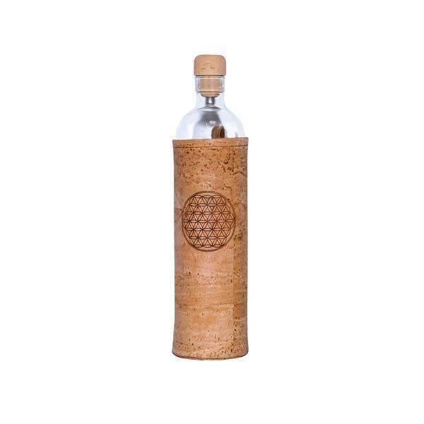 Flaska - Bouteille en verre et manchon en liege Fleur de vie 75cl