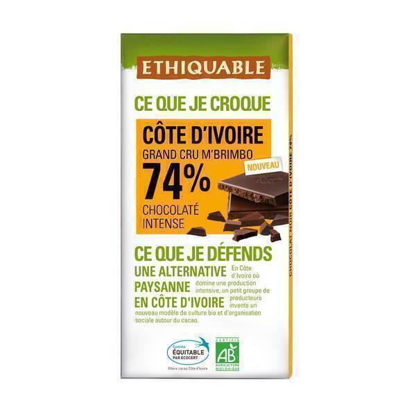 Ethiquable - Chocolat noir 74 % cacao Côte d'Ivoire bio - 100 g