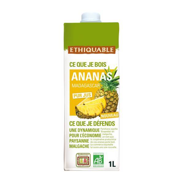 Ethiquable - Pur jus ananas Madagascar bio - 1 L