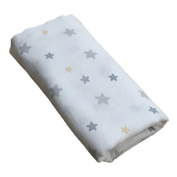 Gloop - Lange mousseline Étoiles grises 70x70cm