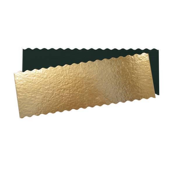 ScrapCooking - 5 supports fins pour cakes et bûches or et noir - 30 x 10 cm
