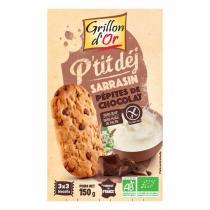 Grillon d'or - Biscuits petit-déjeuner Sarrasin Pépites de chocolat bio - 150 g