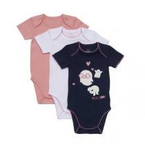 Tex Baby - 3 bodies manches courtes - Navy Fantôme - 3 à 36 mois