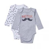Tex Baby - 2 bodies manches longues - col US - Gris Moustache - 3 à 36m