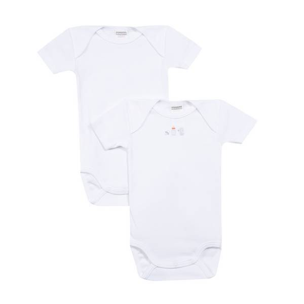 Absorba - 2 bodies manches courtes - Blancs - 3 à 36 mois
