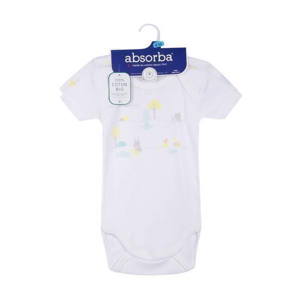 Absorba - 2 bodies manches courtes - Blancs/imprimés - 3 à 36 mois