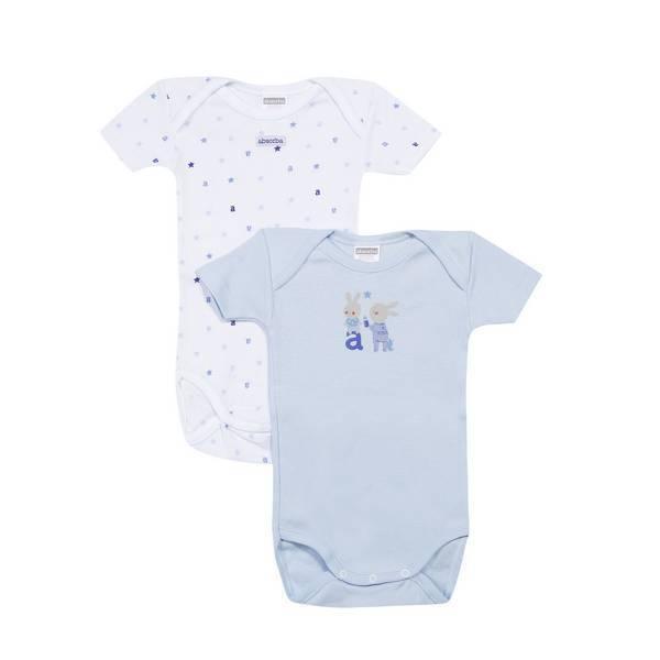 Absorba - 2 bodies manches courtes - Bleu avec imprimés - 3 à 36 mois