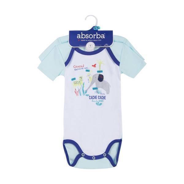 Absorba - 2 bodies manches courtes - Bleu lagune - 3 à 36 mois