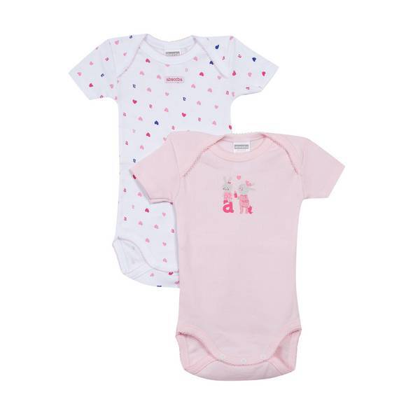 Absorba - 2 bodies manches courtes maille fantaisie - Rose - 3 à 36 mois