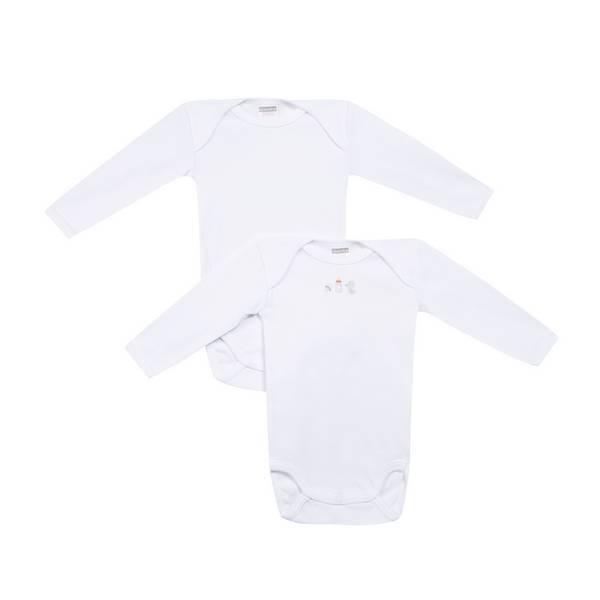 Absorba - 2 bodies manches longues - Blancs - 3 à 36 mois