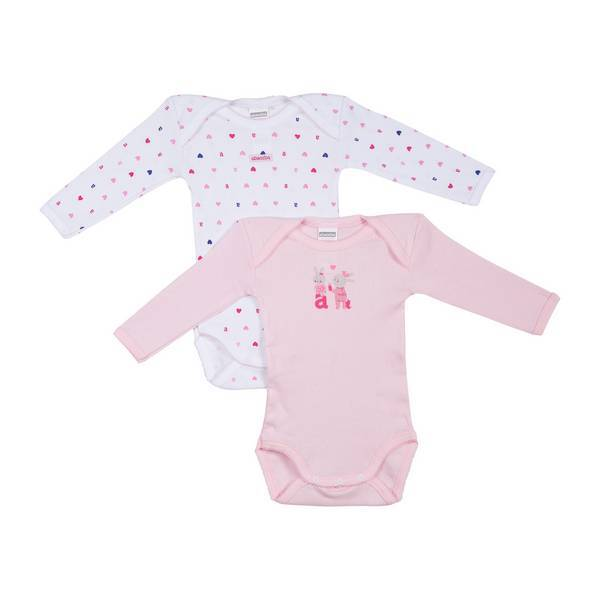 Absorba - 2 bodies manches longues maille fantaisie - Rose - 3 à 36 mois