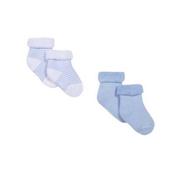 Absorba - 2 paires de chaussettes - Ciel et Blanc - 00/6M
