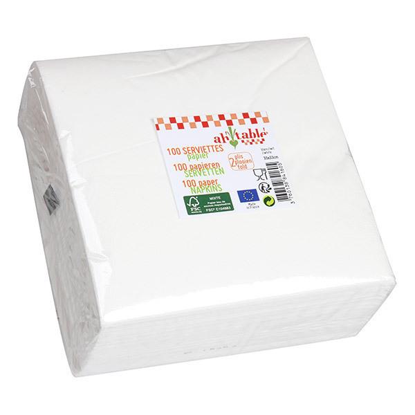 Ah! Table! - 100 serviettes en papier blanches