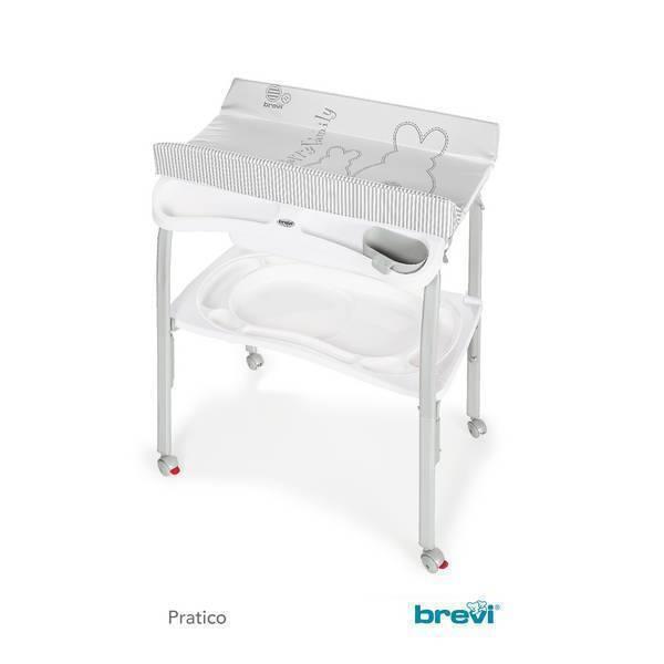 Brevi - Table à langer pliante + baignoire Pratico - Gris Lapinou perle