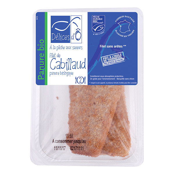 Délices d'Ô - Filet de cabillaud MSC panure biologique x 2 - 200 g