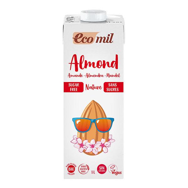 EcoMil - Lot de 3 Lait Amande Sans Sucres Bio 1L