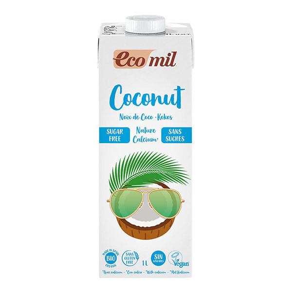 EcoMil - Lot de 3 Lait de coco-calcium Nature sans sucres 1L