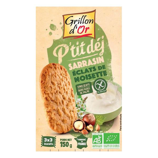 Grillon d'or - Biscuits petit-déjeuner Sarrasin éclats de noisettes bio - 150 g