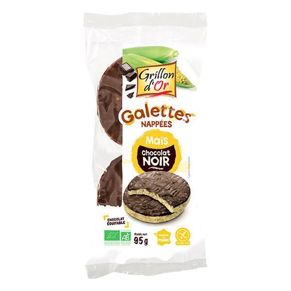 Grillon d'or - Galettes de maïs nappées au chocolat noir bio - 95 g