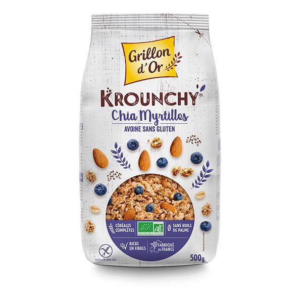 Grillon d'or - Krounchy chia myrtille avoine sans gluten 500g