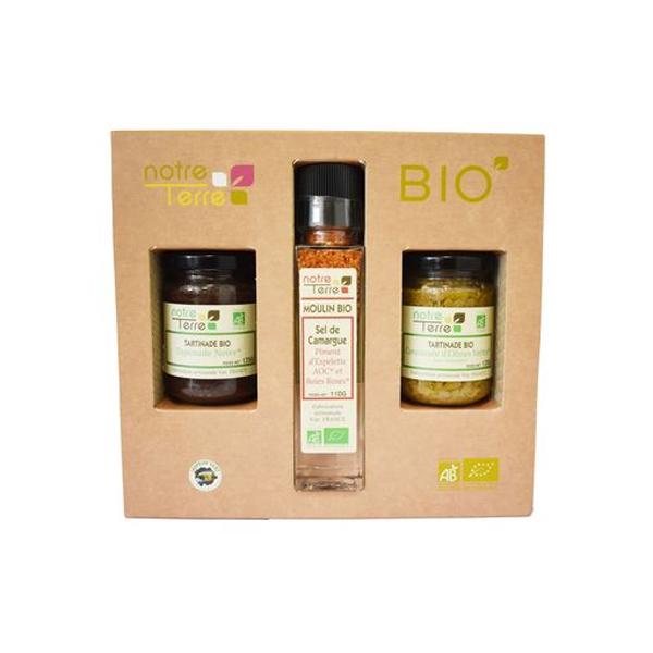 Notre Terre - Coffret classique bio - Tapenade, concassé olives vertes, sel