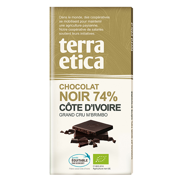 chocolat bio noir 74 c te d 39 ivoire 100 g terra etica acheter sur. Black Bedroom Furniture Sets. Home Design Ideas