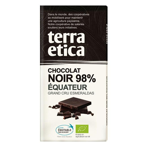 Terra Etica - Chocolat bio noir 98% Equateur 100 g