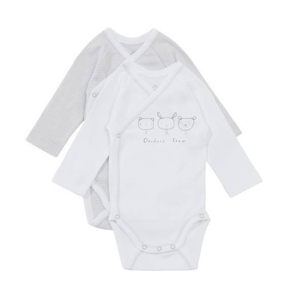 Tex Baby - 2 Bio Bodies manches longues - Gris-Doudouteam - 000 à 6 mois