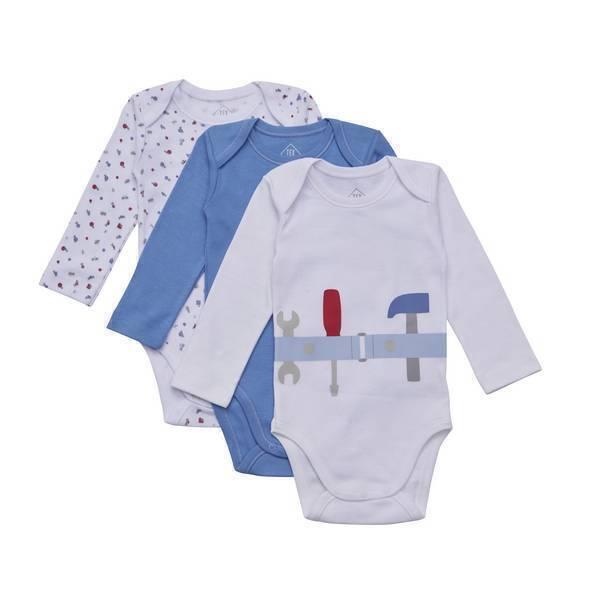 Tex Baby - 3 bodies manches longues- col US - Bleu Outils - 3 à 36 mois