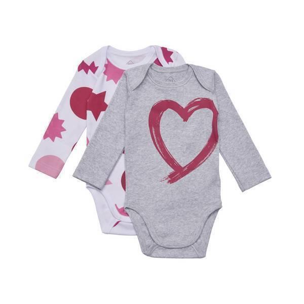 Tex Baby - 2 Bodies manches longues - col US - Gris Coeur - 3 à 36 mois