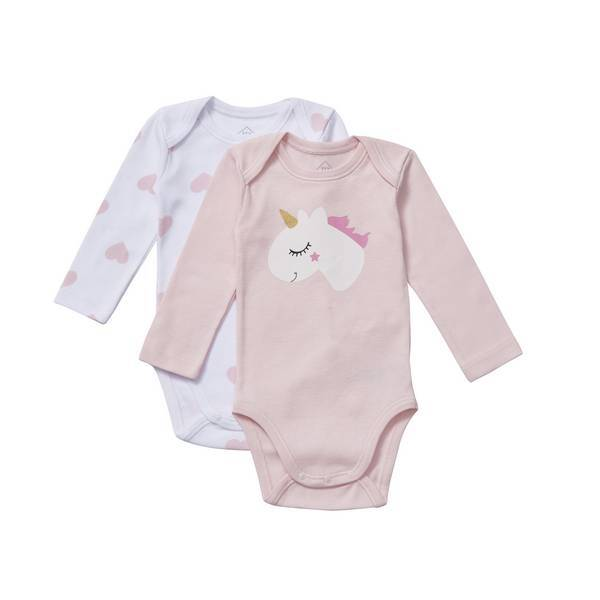 Tex Baby - 2 bodies manches longues - col US - Rose Licorne - 3 à 36 mois