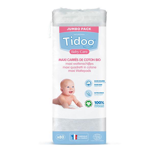 Tidoo - Lots de 3 x 80 Maxi carrés de Coton Bio