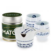 Aromandise - Lot Matcha de Cérémonie en poudre 30 g, théière et 2 tasses