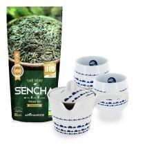 Aromandise - Lot Thé Vert Bio Sencha 85 g, théière et 2 tasses