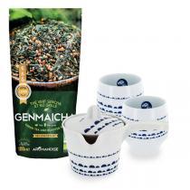 Aromandise - Lot Thé Vert Sencha Riz Grillé bio 100 g, théière et 2 tasses