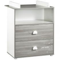 Baby Price - Commode à langer Smile 2 tiroirs 1 niche - Chêne Silex
