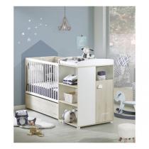 Baby Price - Lit combiné Smile 120x60 évolutif en 90x190cm - Hêtre Cendré