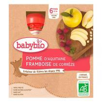 Babybio - Gourdes Pomme Framboise bio - 4 x 90 g