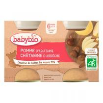 Babybio - Petits pots Pomme Châtaigne d'Ardèche 2 x 130g - Dès 6 mois