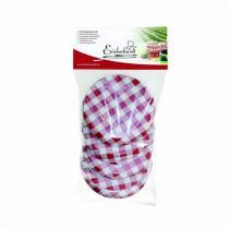 Einkochwelt - 5 couvercles bocaux vichy rouge-blanc 82mm