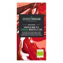 Gourmet Spiruline - Tablette de chocolat noir 74% Noisettes Café et spiruline - 70 g