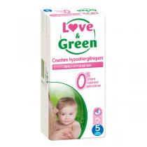 Love & Green - Pack 8x40 Couches hypoallergéniques T5 Jumbo pack 12-25Kg