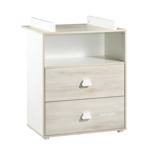 Baby Price - Commode à langer Smile 2 tiroirs 1 niche - Hêtre Cendré.  Loading zoom 54b95aa49c3a