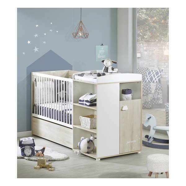 lit combin smile 120x60 volutif en 90x190cm h tre cendr baby price la. Black Bedroom Furniture Sets. Home Design Ideas