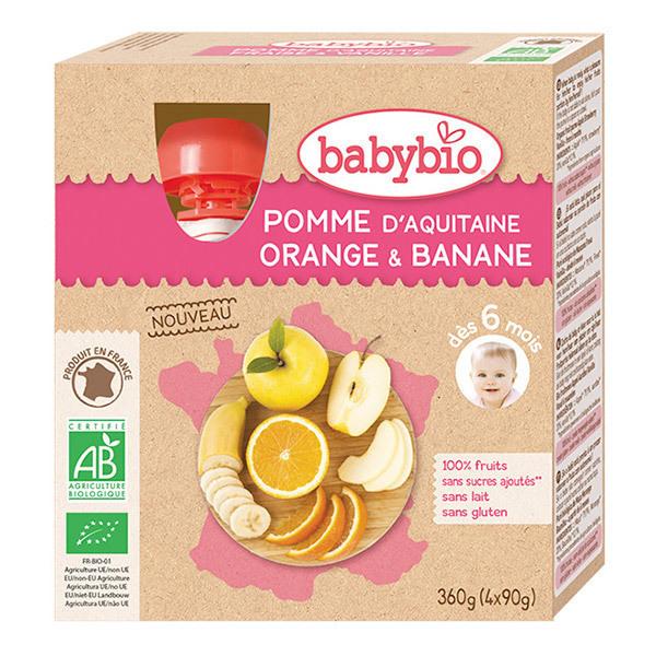 Babybio - Gourdes Pomme Orange Banane bio - 4 x 90 g