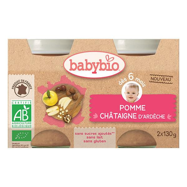 Babybio - Petits pots Pomme Châtaigne d'Ardèche bio - 2 x 130 g
